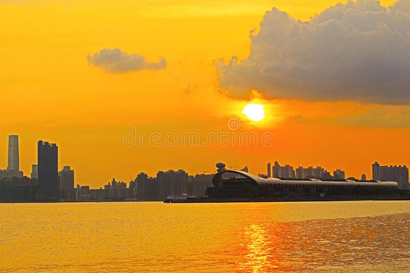 Панорама гавани Виктория города 2014 HK стоковое фото rf
