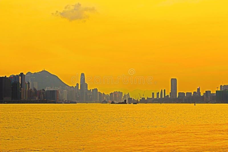 Панорама гавани Виктория города 2014 HK стоковая фотография
