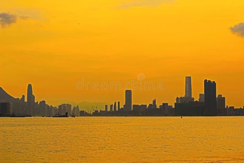 Панорама гавани Виктория города 2014 HK стоковые фотографии rf