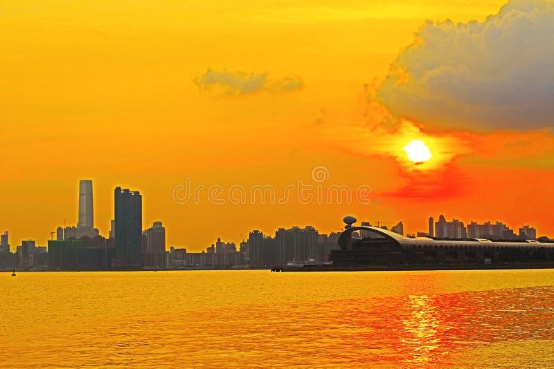Панорама гавани Виктория города 2014 HK стоковые изображения rf