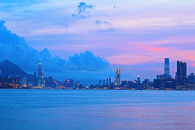 Панорама гавани Виктория города 2014 HK стоковая фотография rf