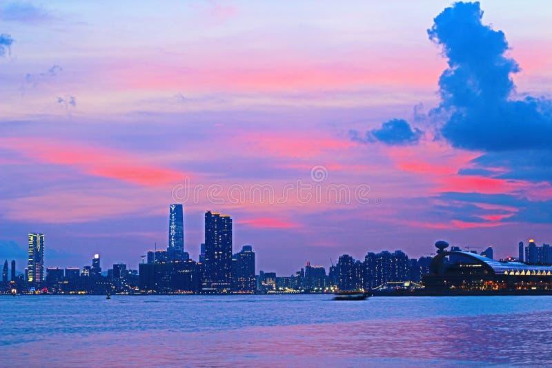 Панорама гавани Виктория города 2014 HK стоковые изображения