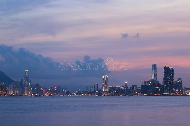 Панорама гавани Виктория города 2014 HK стоковое изображение