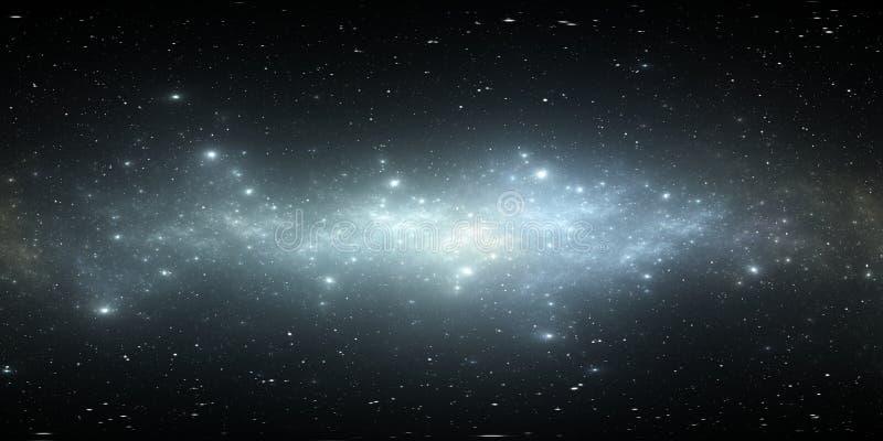 панорама галактики космоса 360 градусов, equirectangular проекция, карта окружающей среды Панорама HDRI сферически иллюстрация вектора