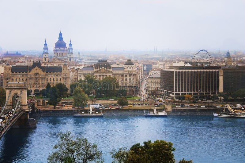 Панорама горизонта города, Будапешт Венгрия стоковое фото rf