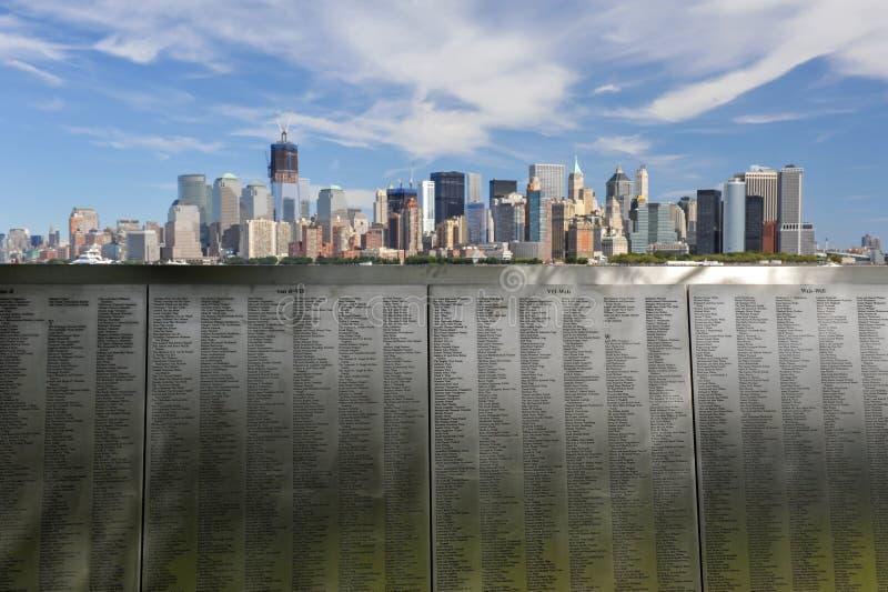Панорама 9/11 горизонта Нью-Йорка стоковое изображение