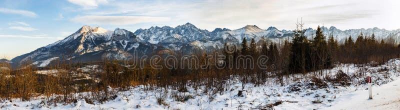 Панорама горных пиков покрытых с свежим снегом стоковая фотография