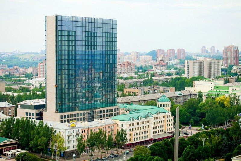 Панорама города Донецка от большей высоты стоковое фото rf