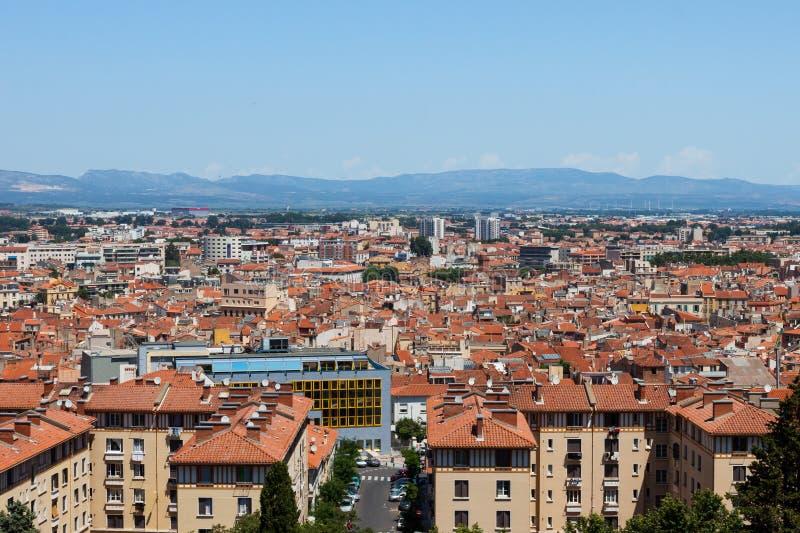 Панорама города зданий Perpignan стоковое изображение