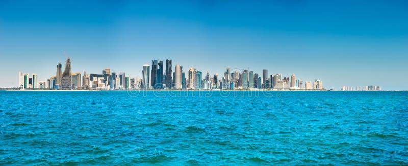 Панорама города центр города Дохи, Катара стоковые изображения