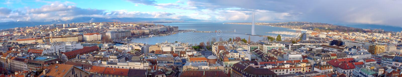 Панорама города Женевы, Швейцария (HDR) стоковое фото
