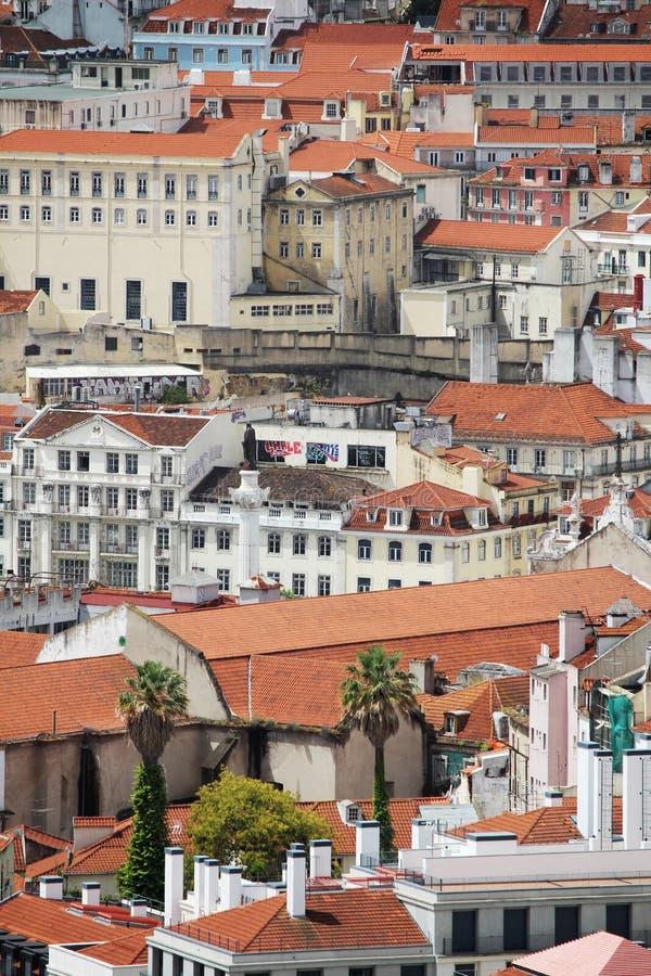Панорама города Лиссабона историческая, Португалия стоковая фотография