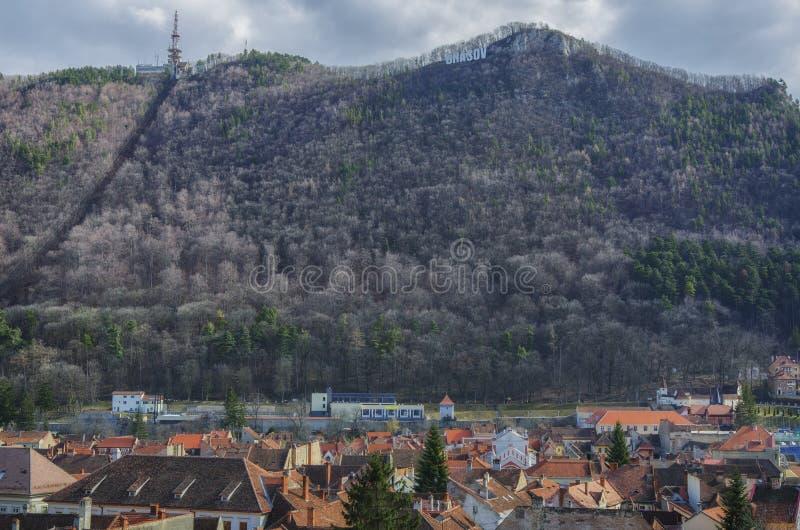 Панорама городка Brasov старая стоковые изображения rf