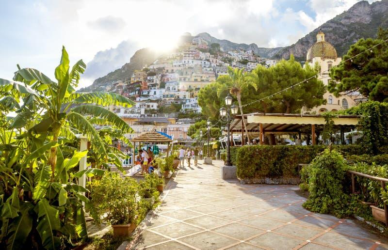 Панорама городка Positano в Италии стоковые фотографии rf