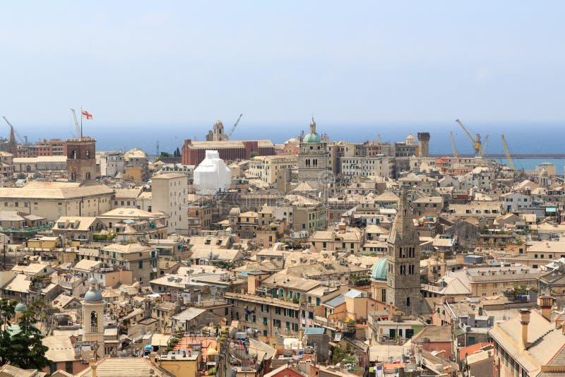 Панорама городского пейзажа Генуи увиденная от Spianata Castelletto стоковые изображения rf