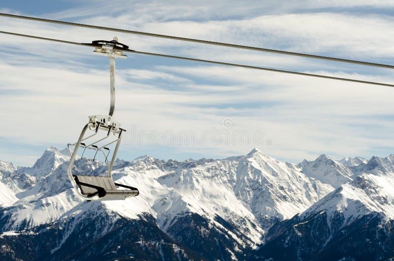 панорама горы chairlift стоковое изображение