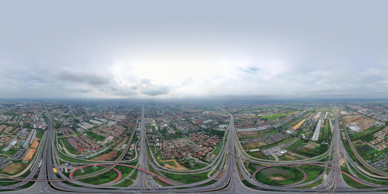панорама 360 180 градусами двигает под углом безшовный взгляд панорамы вида с воздуха соединений шоссе Дороги моста формируют 8 и стоковая фотография