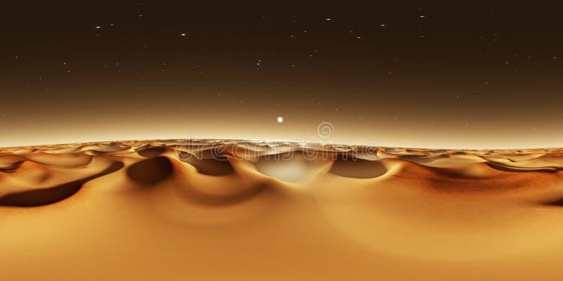 панорама 360 градусов захода солнца на Марсе, песчанных дюнах Марса, карте окружающей среды 360 HDRI Проекция Equirectangular, сф иллюстрация вектора