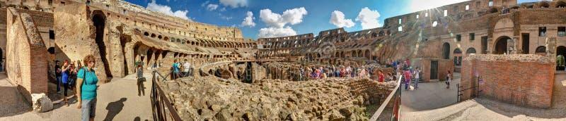 панорама 360 градусов круговая внутри Colosseum или Колизея внутри стоковые фотографии rf
