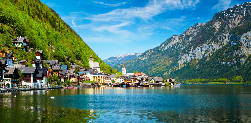 Панорама деревни Hallstatt и Hallstatter видят, Австрия стоковое изображение