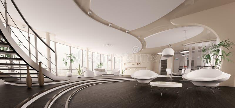 панорама дома 3d нутряная самомоднейшая представляет иллюстрация вектора