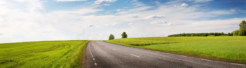 Панорама дороги на солнечный весенний день outdoors стоковые изображения