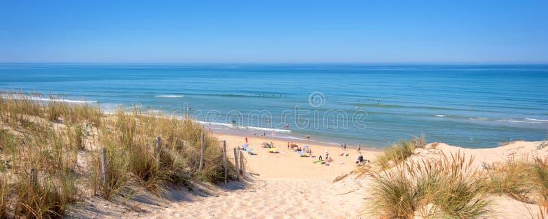 Панорама дюны и пляжа Lacanau, Атлантического океана, Франции стоковое изображение rf