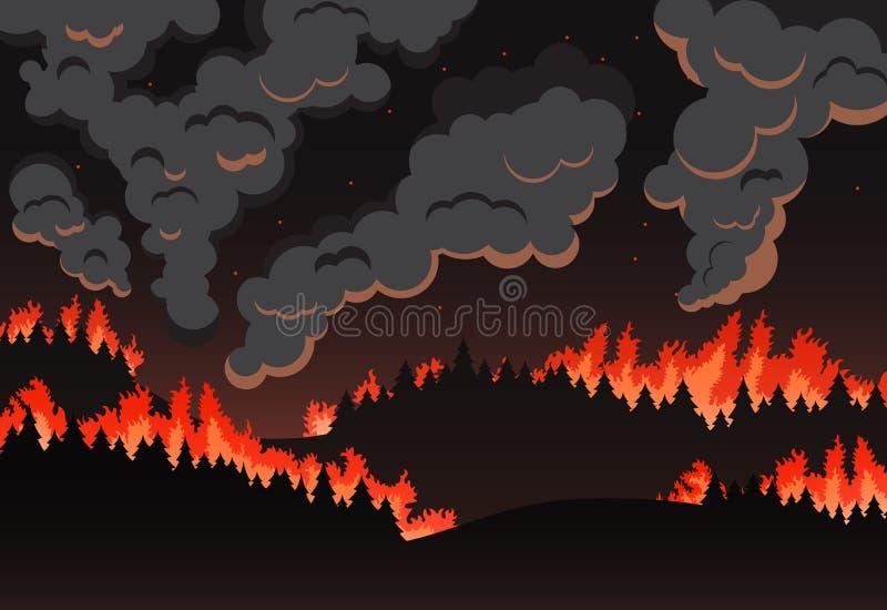 Панорама естественного ландшафта, силуэт лесного пожара ночи иллюстрация вектора