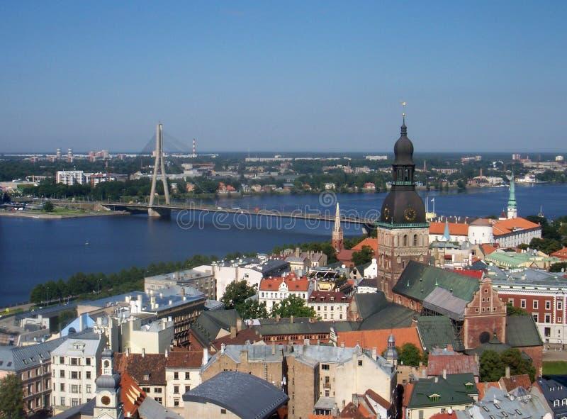 Панорама западной Двины Риги и реки стоковое фото rf