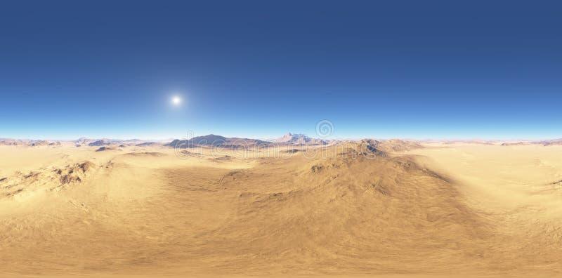 Панорама захода солнца ландшафта пустыни, карты окружающей среды HDRI Проекция Equirectangular, сферически панорама иллюстрация штока