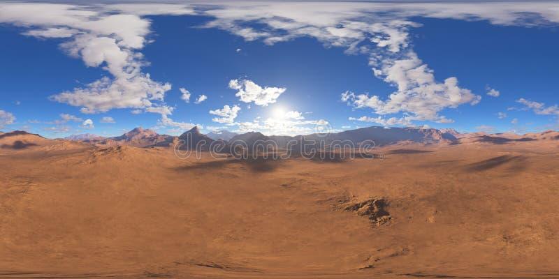 Панорама захода солнца ландшафта фантазии, карты окружающей среды 360 HDRI Проекция Equirectangular, сферически панорама иллюстрация штока