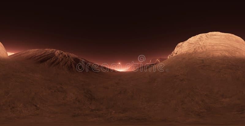 Панорама захода солнца Марса, карты окружающей среды HDRI Проекция Equirectangular, сферически панорама иллюстрация вектора