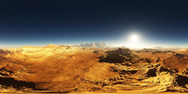 Панорама захода солнца Марса Марсианский ландшафт, карта окружающей среды 360 HDRI Проекция Equirectangular, сферически панорама бесплатная иллюстрация