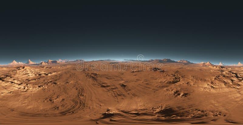 Панорама захода солнца Марса, карты окружающей среды HDRI Проекция Equirectangular, сферически панорама Марсианский ландшафт иллюстрация штока