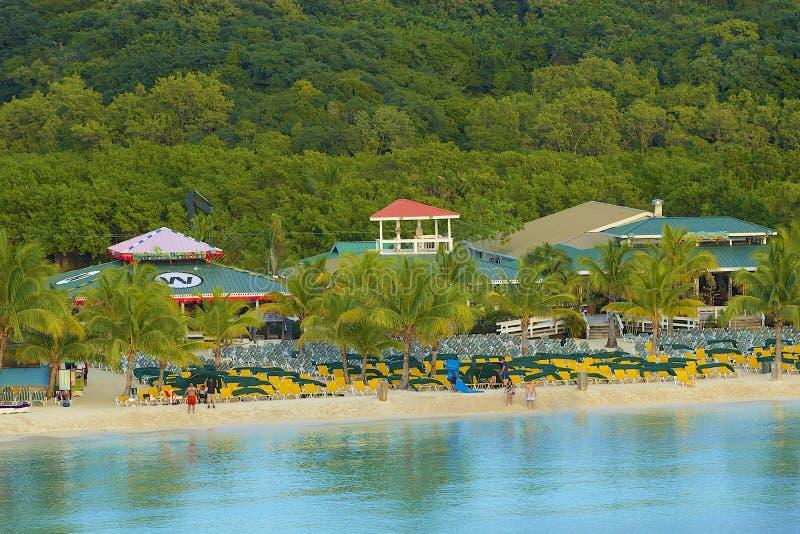 Панорама залива Mahogany в Roatan, Гондурасе стоковая фотография