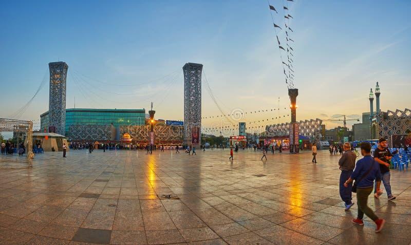 Панорама квадрата Hossein имама, Тегерана стоковое изображение