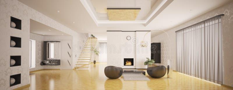 панорама квартиры 3d нутряная самомоднейшая представляет иллюстрация вектора
