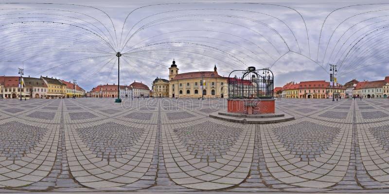 панорама 360 конематки Piata в Сибиу, Румынии стоковые фото