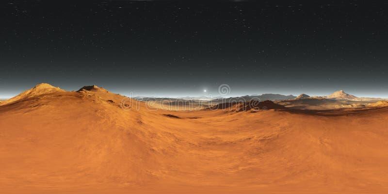 панорама ландшафта 360 градусов марсианская, заход солнца Марса, карта окружающей среды HDRI Проекция Equirectangular сферически иллюстрация штока