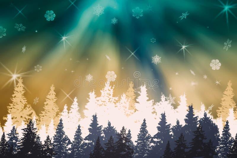 Панорама ландшафт-леса ночи зимы с сине- зелен-белыми рождественскими елками, северным сиянием, рассветом, снегом, снежинками иллюстрация вектора