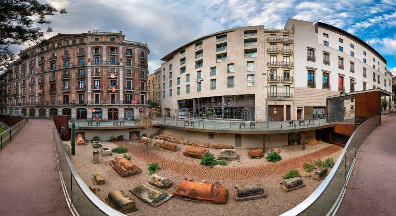 Панорама Ла Vila de Мадрида Placa de в Барселоне, Каталония, стоковая фотография