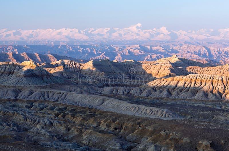 Панорама леса национального Geopark земли и Гималаев на sunse стоковое изображение