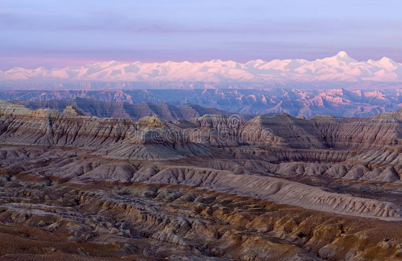 Панорама леса национального Geopark земли, Тибета стоковое фото
