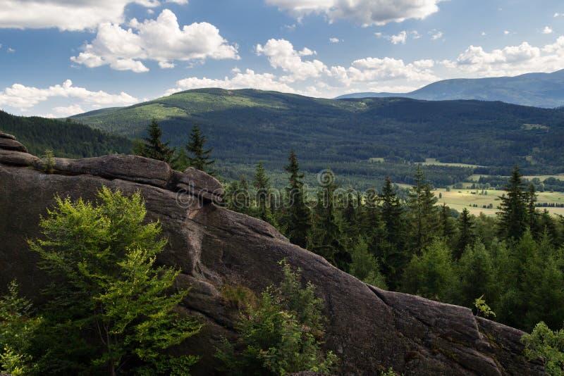 Панорама лета горы на холмах покрытых с зеленым лесом стоковая фотография rf