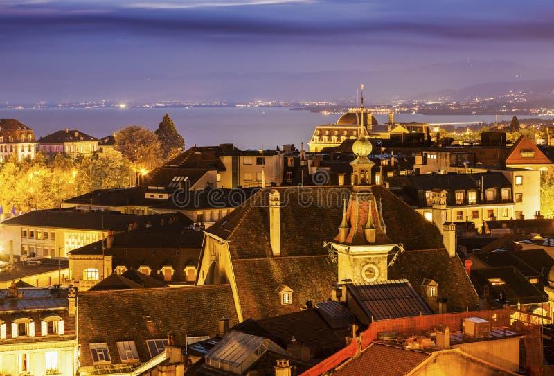 Панорама Лозанны на ноче стоковые фото