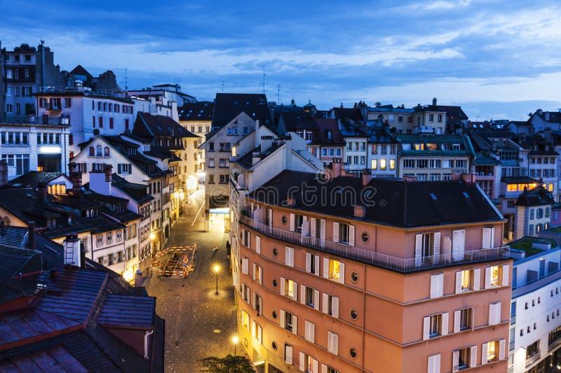 Панорама Лозанны на ноче стоковое изображение rf