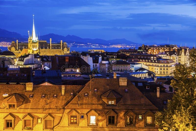 Панорама Лозанны с церковью Свят-Francois стоковые изображения rf