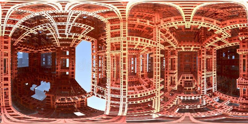 панорама мира лабиринта 360 градусов странная, equirectangular проекция, карта окружающей среды Панорама HDRI сферически иллюстрация вектора