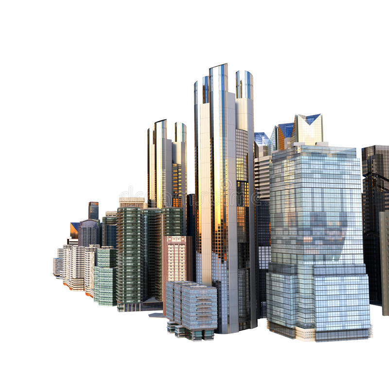 Панорама многоэтажных зданий городского пейзажа панорамы современная ce стоковая фотография