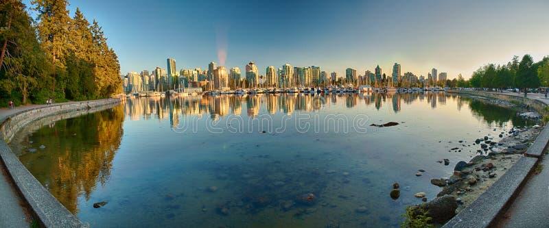 Панорама морской дамбы парка Ванкувера Стэнли стоковая фотография